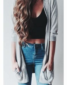 Cute high - waisted jeans paired with a crop top and long cardigan. Spring time wear for a casual, comfortable day.