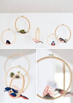 DIY hanging birds in embroidery hoops. Bird pattern found at http://www.spoolsewing.com/blog/2008/05/16/bird-mobile/