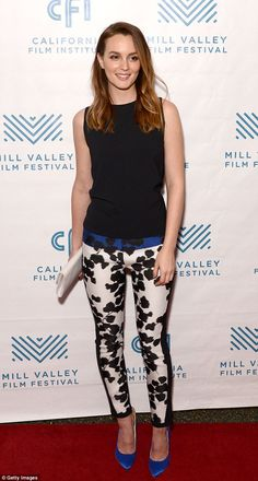 Gossip girl: Leighton Meester looked lovely in floral trousers as she attended the Like Sunday, Like Rain premiere in California on Monday night