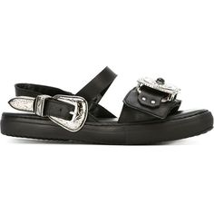 Toga Western Buckle Sandals (€225) ❤ liked on Polyvore featuring shoes, sandals, black, kohl shoes, black rubber sole shoes, buckle sandals, black buckle sandals and cowboy sandals