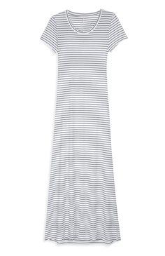 Primark - Vestido largo de punto blanco a rayas 14e