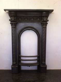 Original Restored Antique Victorian Cast Iron Small Bedroom Fireplace (EM080)
