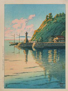 Kawase Hasui (1883-1957): Selection of Scenes from Japan: Morning at Mihogaseki, woodblock print, 1925. SOLD.