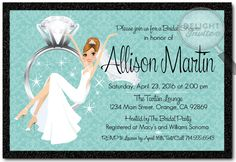Bride Swinging Engagement Ring Bridal Shower Invitations [DI-1533] : Custom Invitations and Announcements for all Occasions, by Delight Invite