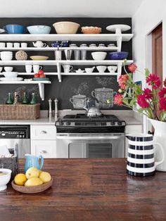 14 Creative Kitchen Backsplash Ideas. Chalk as a backsplash!