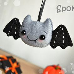 crations dhalloween Felt Halloween decor Bat ornament Halloween toy felt ornaments Halloween gifts Party Favor decorations Halloween cute from MyMagicFelt on Etsy. Cute Halloween Decorations, Halloween Toys, Felt Decorations, Fall Halloween, Halloween Sewing, Fall Crafts, Holiday Crafts, Adornos Halloween, Felt Ornaments