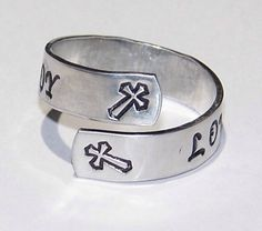 Love Faith Joy or Personalize Your Choice of Words - Metal Stamped Silver Adjustable Wrap Ring - Hand Stamped - Christian - Cross by TalkinDesigns on Etsy https://www.etsy.com/listing/211189009/love-faith-joy-or-personalize-your