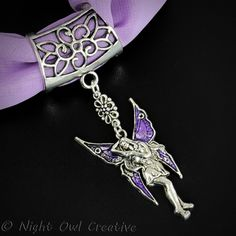 Hand-crafted Scarf Ring, Pendant Slider, Silver Tone Fairy with Purple Wings