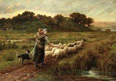 Nearing Home - Phillip Richard Morris – English) Sheep Paintings, Animal Paintings, Sheep Art, Victorian Art, Vintage Artwork, Beautiful Paintings, Farm Animals, Painting & Drawing, Folk Art