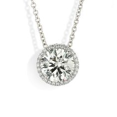 Diamond Necklace Halo Pendant 3 - Sliding halo pendant necklace with Forevermark round brilliant diamond accented with white diamond melee in white gold. Diamond Solitaire Necklace, Diamond Pendant Necklace, Diamond Jewelry, Diamond Necklaces, Women's Necklaces, Diamond Rings, Luxury Jewelry, Modern Jewelry, Fine Jewelry