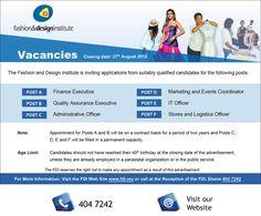 Fashion And Design Institute - Vacancies at FDI. Info: 404 7242