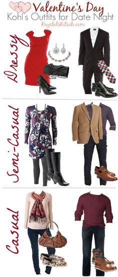 Need ideas for Valentine's Day date night outfits? Here are three looks for both men and women in dressy, semi-casual, and casual looks.