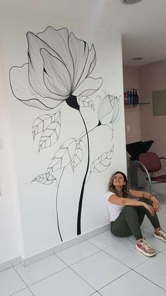 Wall Painting Flowers, Easy Flower Painting, Wall Painting Decor, Mural Wall Art, Watercolor Flowers, Watercolor Paintings, Wall Drawing, Paint Designs, Home Deco