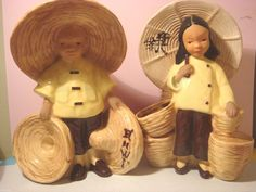 1944 McCarty Brother's Oriental Boy & Girl Figurines California Art Pottery