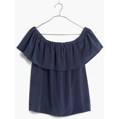 MADEWELL Silk Balcony Off-the-Shoulder Top in Stripe ($70) ❤ liked on Polyvore featuring tops, tops/outerwear, mensy pinstripe night sk, stripe shirt, striped shirt, off the shoulder tops, off shoulder shirt and off shoulder tops