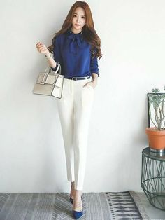 Stylish Work Outfits, Office Outfits, Classy Outfits, Korean Fashion Work, Work Fashion, Fashion Outfits, Slim Fit Dress Pants, Slim Fit Dresses, Corporate Attire