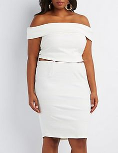 6c1470e20f Plus Size Textured Off-the-Shoulder Top Dressy Outfits, Charlotte Russe,  Fashion