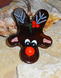New to GlassCat on Etsy: Rudolph Christmas Ornament Reindeer Ornament Holiday Ornament Fused Glass Ornament Package Tie Christmas Suncatcher Winter Decoration (15.00 USD)
