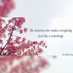 Inspirational quotes - Be someone who makes everybody feel like a somebody