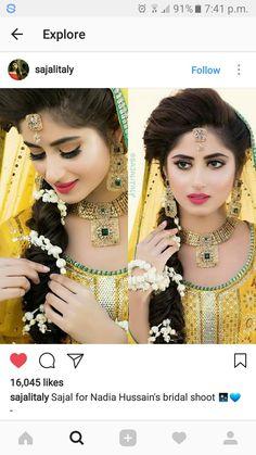 Mendhi day Mehndi Outfit, Mehndi Dress, Mehendi, Pakistani Wedding Dresses, Pakistani Bridal, Indian Bridal, Mehndi Hairstyles, Elegant Hairstyles, Desi Bride
