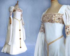 This Elf wedding dress CALEYA medieval Renaissance Galadriel Arwen is just one of the custom, handmade pieces you'll find in our bridal gowns & separates shops. Medieval Gown, Medieval Wedding, Renaissance Dresses, Medieval Fashion, Medieval Clothing, Elf Wedding Dress, Wedding Dresses, Pretty Dresses, Beautiful Dresses