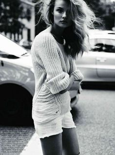 Love the Zadig and Voltaire sweater and balanced shorts + long sleeve shirt look.