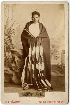"""""""YELLOW FOX,""""Hidatsa and also Mandan men in the community at Like-a-Fishhook Village, D.T., were punctilious in displaying their personal records in the romantic, as well as the martial spheres. Yellow Fox's dress in this portrait documents both. The long, decorated stick held in his left hand proudly trumpets his physical attractiveness to young ladies of the community. Known in the ethnographic literature as a """"courting stick,"""" the withe is cut from osier dogwood (Cornus stolonifera)…"""
