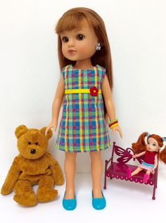 14 Inch Hearts For Hearts Doll: Bright Colorful Rainbow Plaid A-Line Dress by JGooseandCo on Etsy