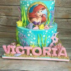 Disney Party Ideas: Little Mermaid Cake Little Mermaid Birthday Cake, Little Mermaid Cakes, Little Mermaid Parties, Birthday Cake Girls, The Little Mermaid, Birthday Parties, 4th Birthday, Sirenita Cake, Ariel Cake
