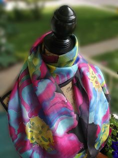 Silk Scarves Blue & Yellow Magnolias on Black by InnaKulagina