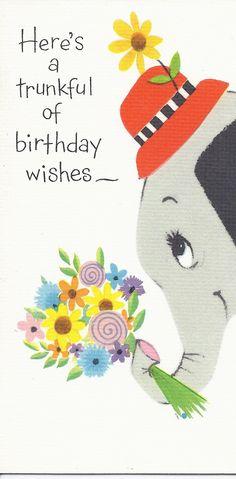 Forget Me Not elephant.  No me olvides elefante.  Aquí hay un baúl lleno de deseos de cumpleaños.