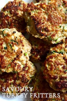These savoury, veggie-filled turkey fritters are made with zucchini and potatoes, creamy goat milk feta and a handful of pantry staples. Enjoy them alongside eggs and greens at your next Sunday brunch or add them to your meal prep plans for lunches through the week! #fritters #turkeyfritters #easyrecipe #turkeyrecipes #lunch #brunch #zucchini #feta #goodmoodfood #mealprep #healthybreakfastideas