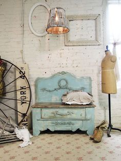 Painted Cottage Chic Shabby Aqua Farmhouse by paintedcottages, $295.00