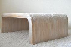 Long Low Pencil Reed Waterfall Coffee Table Whitewash by EuroFair