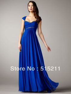 Modest Empire Waist Backless Royal Blue Chiffon Floor Length Prom Dress With Cap Sleeves Sexy Formal Evening Gown 2013