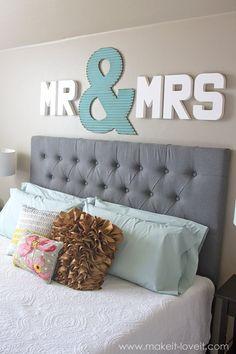 """Mr & Mrs"" Wall Display...fun master bedroom decor!"