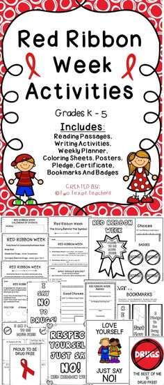 Red Ribbon Week Celebrate Red Ribbon Week with this fun filled activity pack. This Red Ribbon activity pack will help students learn about the importance of being drug free and making good choices. Red Ribbon Week, Student Council, Reading Passages, Drug Free, School Counselor, Kindergarten Worksheets, Student Learning, Elementary Schools, Upper Elementary