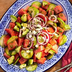 Tomatillo-Watermelon Salad ~ You won't find any plain-Jane lettuce here: This easy salad recipe is brimming with watermelon, avocados, and tomatillos, and flavored with tangy lime-and-jalapeno vinaigrette. Fresh cilantro and mint add an exciting herbal touch.