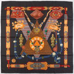 "Hermes Silk Twill Scarf ""Tibet"" Designed by Caty Latham"
