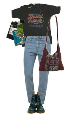 """queen bītch"" by kampow ❤ liked on Polyvore featuring American Apparel, Dr. Martens, Moleskine and Jessica de Lotz Jewellery"