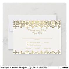 Vintage Floral, Vintage Art, Vintage Modern, Blush And Gold, Blush Pink, Art Nouveau, Wedding Rsvp, Response Cards, Save The Date Cards