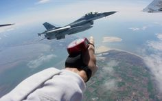Yes! This shot is real, and not from inside a cockpit, either. Royal Netherlands Air Force F-16 pilot and avid skydiver Joost Luysterburg of Performance Designs is going to tell you exactly how this crazy encounter came to pass.
