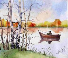 "Морсковатых Маргарита. Осенний пейзаж ""Лодка на реке"""
