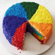 Rainbow Pinwheel Cake - this takes a rainbow cake to the NEXT level! Love this. More fantastic cakes: http://www.bhg.com/recipes/desserts/cakes/best-of-cakes--magazine/