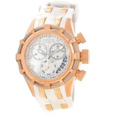 """Invicta """"Reserve Collection"""" 18k Rose Gold-Plated Watch ($348) ❤ liked on Polyvore featuring jewelry, watches, 18k jewelry, invicta wrist watch, sport watch, buckle watches and buckle jewelry"""