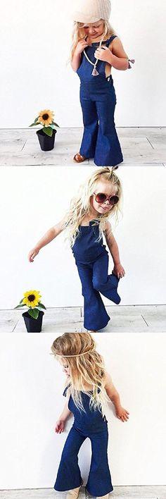 Goodlock Toddler Kids Fashion Romper Baby Girl Sleeveless Backless Strap Denim Overall Romper Trousers
