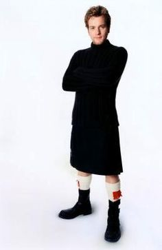 ewan - best outfit! Turtleneck... Check. Kilt... Check. Boots... Check! Nothing but dashingly handsome!