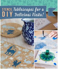 Stencil DIY: Table-scapes for a Delicious Fiesta | Royal Design Studio Stencils - Talavera Tiles and Otomi Pattern
