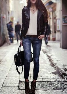 Black leather jacket goes with anything. When in doubt put on a leather jacket. [ AlbertoFermaniUSA.com ] #chic #fashion #style