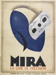 rasoir - Mira - la lame de précision - 1929 - illustration de Charles Loupot - France -